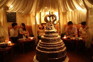 Intimate dining tent upstairs at Bali Lax Indonesian Restaurant