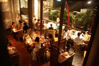 Out door dining area of Bali Lax Restaurant Tokyo