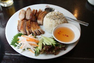 Grilled pork and rice at Huong Viet Vietnamese Restaurant