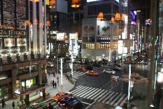 The view from Kimuraya French Restaurant over Ginza