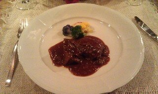 Beef stewed in red wine sauce main meal