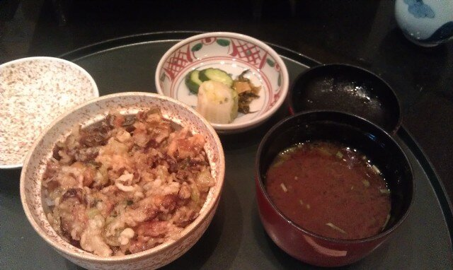 Miso soup and rice dish at Shun Tempura Restaurant Tokyo