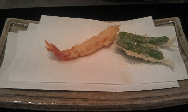 Prawn and vegetable tempura at Shun tempura Restaurant
