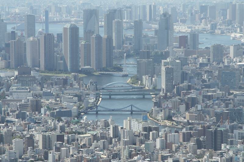 Looking down Sumida River at the various bridges from Tokyo Skytree