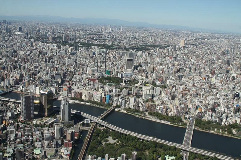 Looking down to Sumida River Tokyo Skytree