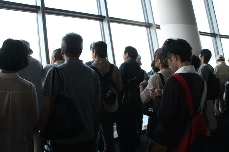 The crowds at the observation deck at Tokyo Skytree