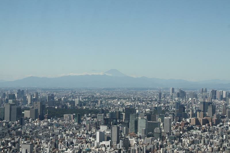 Mount Fuji in the distance from Tokyo Skytree